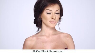 Sexy Brunette Woman Posing on White