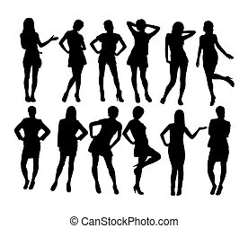 Sexy Business Woman and secretary Silhouetes, art vector...