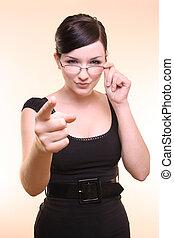 Sexy businesswoman/teacher giving discipline!