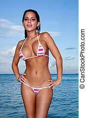 Sexy Busty Model In Bikini - Sexy wet model with large...