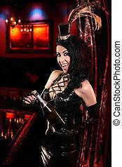 Sexy Cabaret Nightclub - Glamorous Hostess opening Champagne...