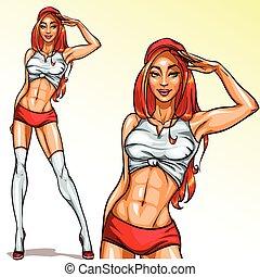 sexy, capelli rossi, appuntare, ragazza