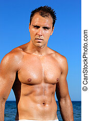 sexy caucasian fit man posing