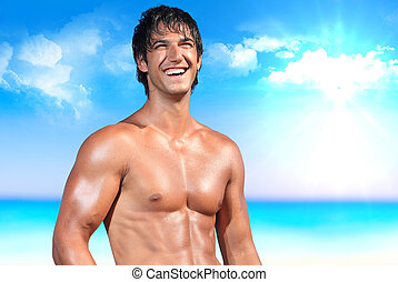 sexy caucasian posing in a beach