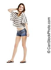 Sexy caucasian wearing hot pants posing