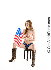 Sexy Caucasian woman with in American national flag