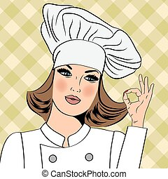 Sexy chef woman in uniform  gesturing ok sign with her hand