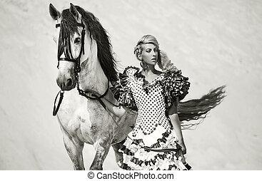 sexy, cheval, femme, blanc, portrait