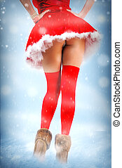 Sexy christmas card - legs in stockings