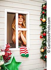 Sexy christmas elfin in fantasy house - Sexy christmas elfin...