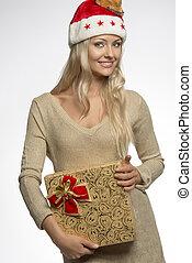 sexy christmas girl with gift box