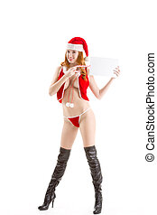 Sexy Christmas - seductive naked Mrs. Claus with copyspace