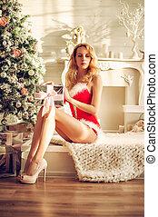 Sexy christmas woman with gift box