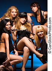 sexy, cinq, femmes