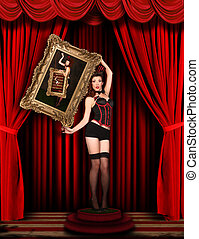 Circus Pinup Model on Red Draped Stage