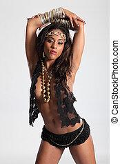 Sexy cleavage on beautiful amazon glamour girl