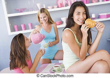 sexy, colazione, godere, gruppo, amici