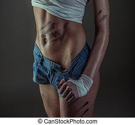 sexy, condición física, modelo