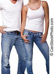 sexy, coppia, giovane