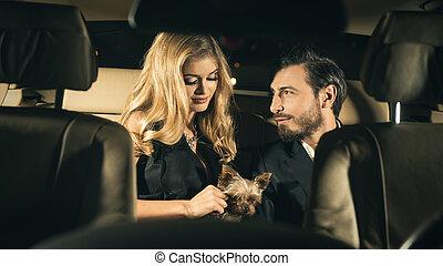 sexy, coppia, in, il, automobile., fuoco, su, uomo