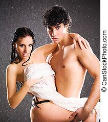 sexy, coppia, passione, giovane