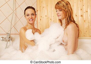 sexy, coppia, vasca bagno, lesbica