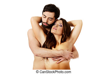 sexy, couple, embracing., hétérosexuel