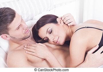 sexy, couple, hétérosexuel
