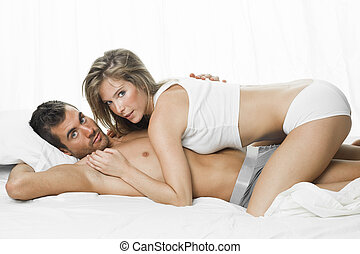 sexy couple in white underwear having sex