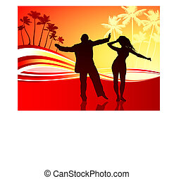 sexy couple on tropical background