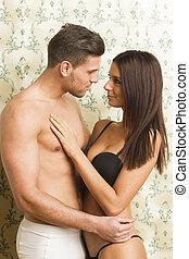 sexy, couple, passionné, hétérosexuel