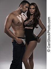 sexy, couple, pose, sensuelles