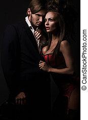 sexy, couple, séduisant