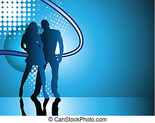 Sexy couple silhouette on blue background.