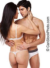 sexy, couple, sous-vêtements