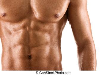 sexy, cuerpo, de, desnudo, hombre