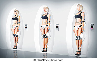 sexy, cyborg, maid., femmina, completo