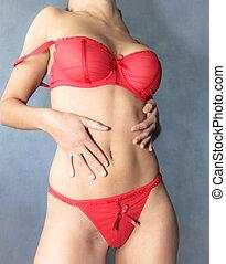 sexy, część, kobieta, w, czerwony, bielizna