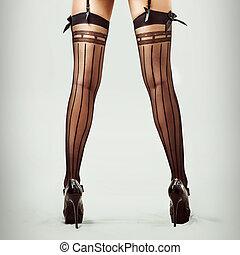 sexy, długie nogi, w, pończochy, od, piękny, szczupły, kobieta