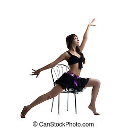 Sexy dance instructor show exercise with chair