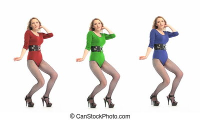 Sexy Dancer In Leotard - A set of three colour variations of...