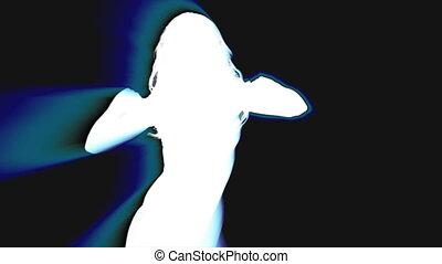 sexy, danser, silhouette, schaduw