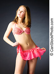 sexy, delgado, mujer, en, rosa, lenceria