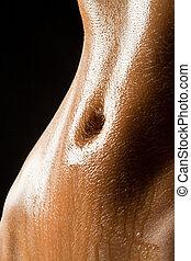 sexy, delgado, vientre, mojado