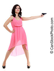 sexy detective spy woman holding gun isolated