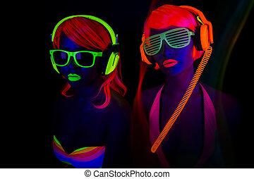 sexy, deux, néon, uv, lueur, danseurs
