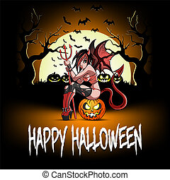 Sexy devil woman sitting on a halloween pumpkin