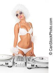 sexy, dj, vrouw, op wit, djing