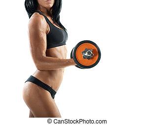 sexy, donna, allenamento