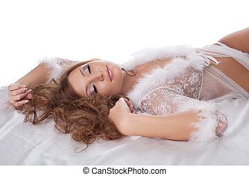sexy, donna, disposizione, letto, rilassato, in, biancheria intima